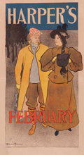 Fine Art - Work on Paper:Print, EDWARD PENFIELD (American, 1866-1925). Harper's Magazine, February cover. Art Nouveau poster laid on canvas. 19-3/4 x 10...