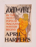 Fine Art - Work on Paper:Print, EDWARD PENFIELD (American, 1866-1925). Joan of Arc, Harper's Magazine, April cover. Art Nouveau poster laid on canvas. 1...