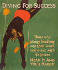 Prints, WILLARD FREDERIC ELMES (American/British, 1900-1956). Diving for Success. Art Nouveau poster laid on canvas. 42-3/4 x 35...