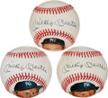 Autographs:Baseballs, 1988 Mickey Mantle Single Signed Portrait Baseballs Lot of 3....