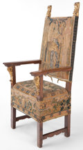 Furniture , AN ITALIAN RENAISSANCE STYLE WOOD AND TAPESTRY ARM CHAIR. 19th century . 58-1/2 inches high x 24-1/4 inches wide x 21-3/4 in...