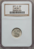 Barber Dimes: , 1911-D 10C MS63 NGC. NGC Census: (28/132). PCGS Population(42/164). Mintage: 11,209,000. Numismedia Wsl. Price for problem...