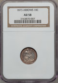 Seated Dimes: , 1873 10C Arrows AU58 NGC. NGC Census: (17/104). PCGS Population(14/107). Mintage: 2,378,500. Numismedia Wsl. Price for pro...