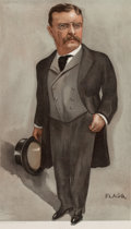 "Prints, AMERICAN ARTIST (Late 19th/Early 20th Century). ""U.S.A"",Theodore Roosevelt, President of USA, September 4, 1902,Septem..."