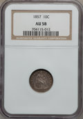 Seated Dimes: , 1857 10C AU58 NGC. NGC Census: (27/223). PCGS Population (23/166).Mintage: 5,580,000. Numismedia Wsl. Price for problem fr...