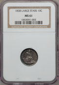 Seated Dimes: , 1838 10C Large Stars MS61 NGC. NGC Census: (13/235). PCGSPopulation (6/183). Mintage: 1,992,500. Numismedia Wsl. Pricefor...