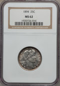 Barber Quarters: , 1894 25C MS62 NGC. NGC Census: (25/90). PCGS Population (26/103).Mintage: 3,432,972. Numismedia Wsl. Price for problem fre...