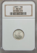 Barber Dimes: , 1897 10C MS63 NGC. NGC Census: (68/190). PCGS Population (91/164).Mintage: 10,869,264. Numismedia Wsl. Price for problem f...