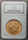 Liberty Double Eagles: , 1905 $20 AU58 NGC. NGC Census: (195/465). PCGS Population (88/435).Mintage: 58,900. Numismedia Wsl. Price for problem free...