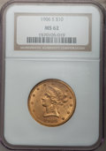 Liberty Eagles, 1906-S $10 MS62 NGC. NGC Census: (73/15). PCGS Population (63/35).Mintage: 457,000. Numismedia Wsl. Price for problem free...