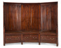 Furniture : English, AN ENGLISH PINE THREE-PANEL SETTEE . 19th century. 57-3/4 inches high x 74-1/2 inches wide x 20 inches deep (146.7 x 189.2 ...