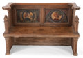 Furniture : Continental, AN ITALIAN RENAISSANCE STYLE POLYCHROME WOOD BENCH . 19th century .35-1/4 inches high x 55-1/4 inches wide x 18-1/2 inches ...