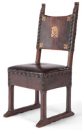 Furniture : Continental, A SPANISH BAROQUE STYLE WOOD AND LEATHER CHAIR . 19th century . 47inches high x 17-1/4 inches wide x 16 inches deep (119.4 ...