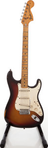 Musical Instruments:Electric Guitars, 1975 Fender Stratocaster Sunburst Solid Body Electric Guitar,Serial #659174....