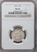 Twenty Cent Pieces, 1876 20C MS64 NGC....