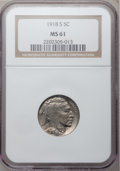 Buffalo Nickels, 1918-S 5C MS61 NGC....