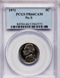 Proof Jefferson Nickels, 1971 5C No S PR66 Cameo PCGS....