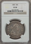 Early Half Dollars, 1805 50C VF30 NGC. O-111, R.2....