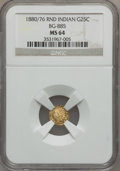 California Fractional Gold, 1880/76 25C Indian Round 25 Cents, BG-885, R.3, MS64 NGC....
