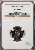 Bust Dimes, 1837 10C MS63 Prooflike NGC. JR-3, R.2....