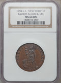 Colonials, 1794 1C Talbot, Allum & Lee Cent, NEW YORK MS64 Brown NGC.Fuld-4, W-8590, R.1....