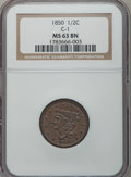 Half Cents: , 1850 1/2 C MS63 Brown NGC. C-1. NGC Census: (25/17). PCGSPopulation (34/23). Mintage: 39,800. Numismedia Wsl. Price for p...