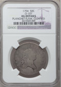 Early Half Dollars, 1794 50C -- Planchet Flaw, Cleaned -- NGC Details. AG. O-107, R.6....