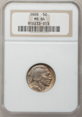 Buffalo Nickels: , 1920 5C MS64 NGC. NGC Census: (331/136). PCGS Population (484/350).Mintage: 63,093,000. Numismedia Wsl. Price for problem ...