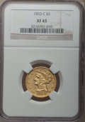 Liberty Half Eagles, 1853-C $5 XF45 NGC. Variety 1....