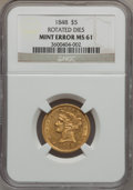 Liberty Half Eagles, 1848 $5 -- Rotated Dies -- MS61 NGC....