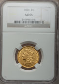 Classic Half Eagles, 1836 $5 AU55 NGC. Second Head, Small Date, Breen-6508, McCloskey5-D, R.3....