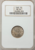 Liberty Nickels: , 1893 5C MS64 NGC. NGC Census: (174/94). PCGS Population (198/90).Mintage: 13,370,195. Numismedia Wsl. Price for problem fr...