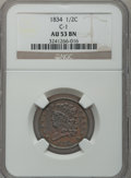 Half Cents: , 1834 1/2 C AU53 NGC. C-1. NGC Census: (16/363). PCGS Population(26/302). Mintage: 141,000. Numismedia Wsl. Price for prob...