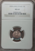 Seated Dimes, 1838 10C Large Stars MS64 NGC. Fortin-106a, R.4....