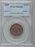 Half Cents: , 1849 1/2 C Large Date MS63 Brown PCGS. PCGS Population (43/25). NGCCensus: (35/45). Mintage: 39,864. Numismedia Wsl. Price...