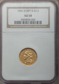 Classic Quarter Eagles, 1836 $2 1/2 Script 8 AU58 NGC. Head of 1835, Breen-6143, Variety 11, R.2....