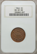 Two Cent Pieces: , 1866 2C MS65 Red and Brown NGC. NGC Census: (143/18). PCGSPopulation (55/5). Mintage: 3,177,000. Numismedia Wsl. Price for...