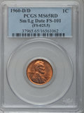 1960-D/D 1C Small Over Large Date, FS-101 MS65 Red PCGS. (FS-025.5). PCGS Population (49/6). NGC Census: (0/0). (#37965)...