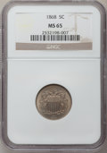 Shield Nickels: , 1868 5C MS65 NGC. NGC Census: (127/31). PCGS Population (71/25).Mintage: 28,800,000. Numismedia Wsl. Price for problem fre...