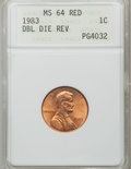 Lincoln Cents: , 1983 1C Doubled Die Reverse MS64 Red ANACS. NGC Census: (71/459).PCGS Population (277/757). Numismedia Wsl. Price for pro...