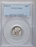 Mercury Dimes: , 1919-D 10C MS63 PCGS. PCGS Population (93/106). NGC Census:(50/95). Mintage: 9,939,000. Numismedia Wsl. Price for problem ...