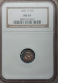 Seated Half Dimes: , 1857 H10C MS63 NGC. NGC Census: (139/366). PCGS Population(128/238). Mintage: 7,280,000. Numismedia Wsl. Price for problem...