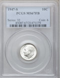 Roosevelt Dimes, 1947-S 10C MS67 Full Bands PCGS. NGC Census: (52/1). PCGSPopulation (31/2). Mintage: 34,840,000. Numismedia Wsl. Pricefor...
