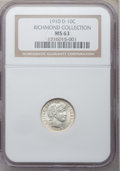 Barber Dimes: , 1910-D 10C MS63 NGC. Ex: Richmond Collection. NGC Census: (18/34).PCGS Population (23/41). Mintage: 3,490,000. Numismedia ...