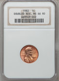 Lincoln Cents: , 1983 1C Doubled Die Reverse MS66 Red NGC. NGC Census: (216/122).PCGS Population (268/33). Numismedia Wsl. Price for probl...