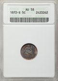 Seated Half Dimes: , 1872-S H10C Mintmark Below Bow AU58 ANACS. NGC Census: (62/623).PCGS Population (55/526). Mintage: 837,000. Numismedia Wsl...