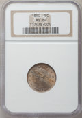 Liberty Nickels: , 1890 5C MS64 NGC. NGC Census: (118/59). PCGS Population (149/61).Mintage: 16,259,272. Numismedia Wsl. Price for problem fr...