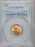 Lincoln Cents: , 1942 1C MS67 Red PCGS. PCGS Population (126/0). NGC Census:(780/0). Mintage: 657,828,608. Numismedia Wsl. Price for proble...