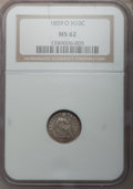 Seated Half Dimes: , 1859-O H10C MS62 NGC. NGC Census: (14/62). PCGS Population (14/45).Mintage: 560,000. Numismedia Wsl. Price for problem fre...