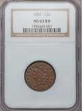 Half Cents: , 1835 1/2 C MS63 Brown NGC. NGC Census: (230/322). PCGS Population(122/129). Mintage: 398,000. Numismedia Wsl. Price for pr...
